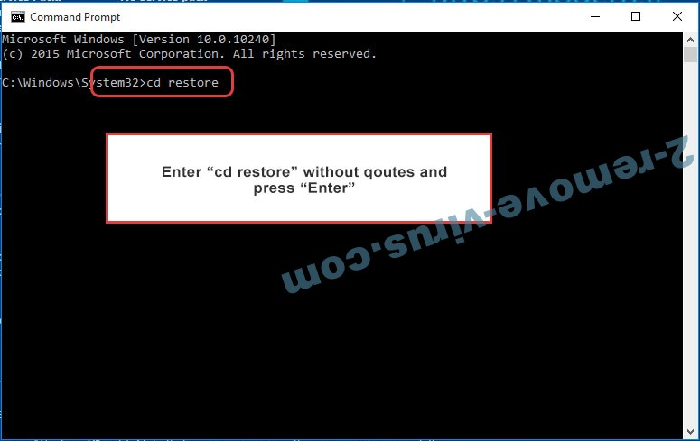 Uninstall BadNews Ransomware - command prompt restore