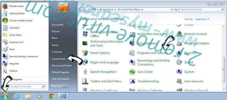 Uninstall Fidonav.com from Windows 7