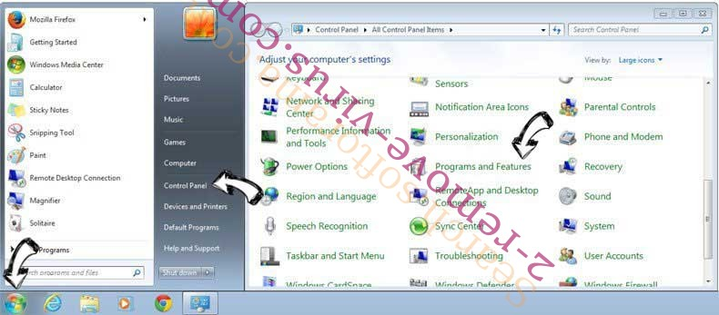 Uninstall Piesearch.com from Windows 7