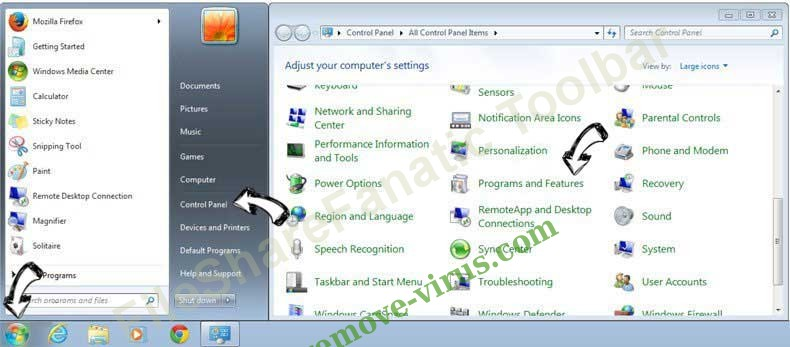 Uninstall FileShareFanatic Toolbar verwijderen from Windows 7