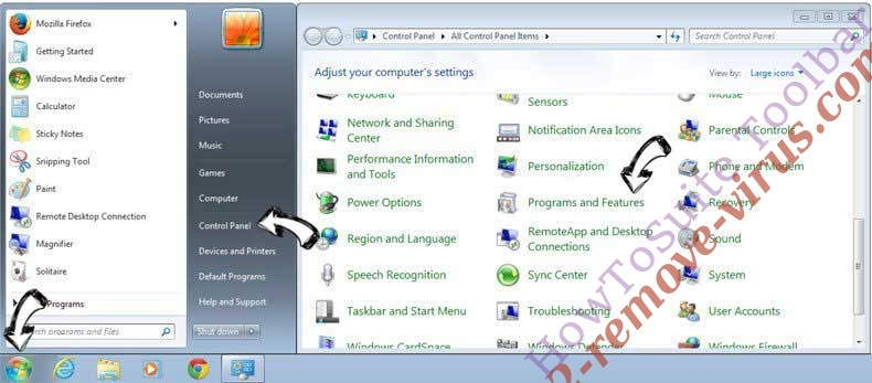 Uninstall Rimuovere Baidu Toolbar from Windows 7