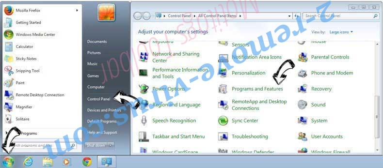 Uninstall Mysurfing123.com from Windows 7