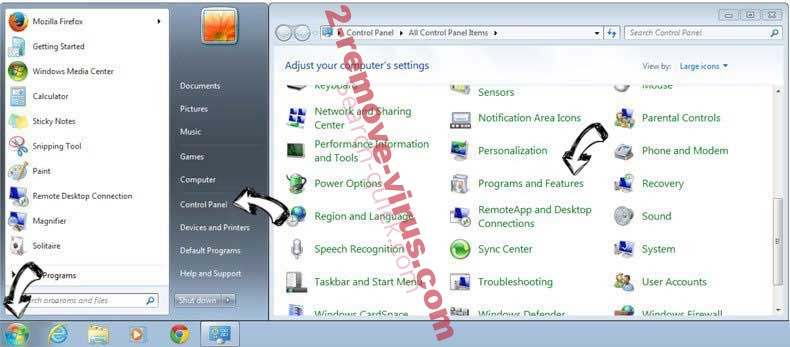 Uninstall Rambler Search virus from Windows 7