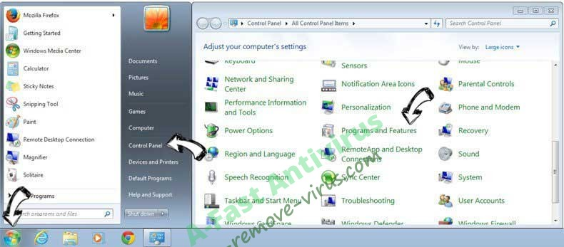 Uninstall Rimuovere A-Fast Antivirus from Windows 7