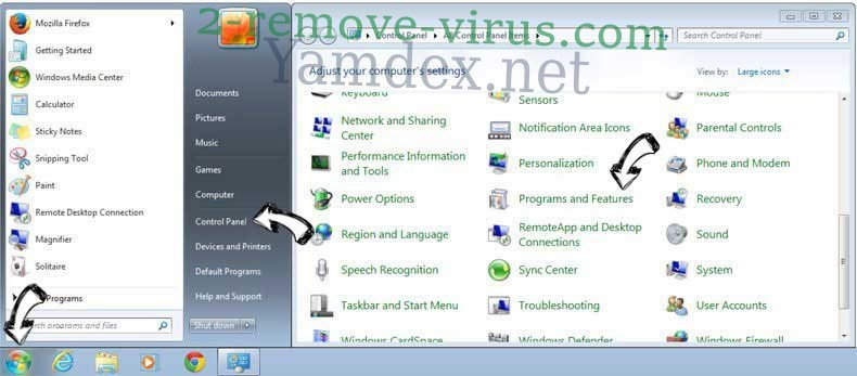 Uninstall Yamdex.net from Windows 7