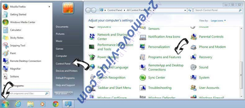 Uninstall 123rede.com from Windows 7