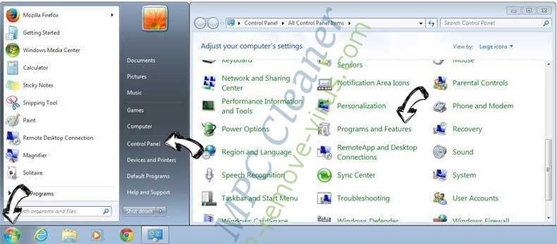 Uninstall MPC Cleaner from Windows 7