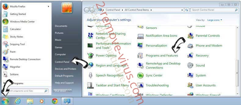 Uninstall WinSnare from Windows 7