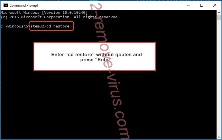 Uninstall 888 ransomware - command prompt restore