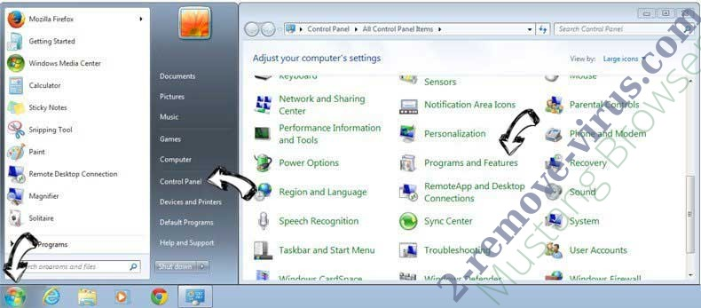 Uninstall Eliminar Mustang Browser from Windows 7
