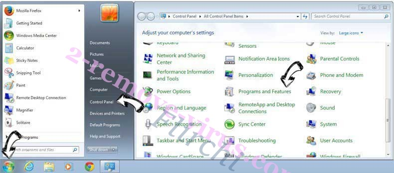 Uninstall Flirchi from Windows 7