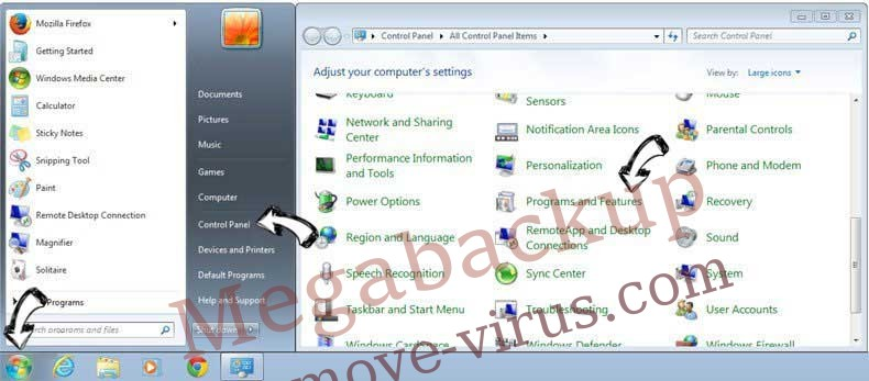 Uninstall Megabackup from Windows 7