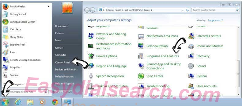 Uninstall Easydialsearch.com from Windows 7