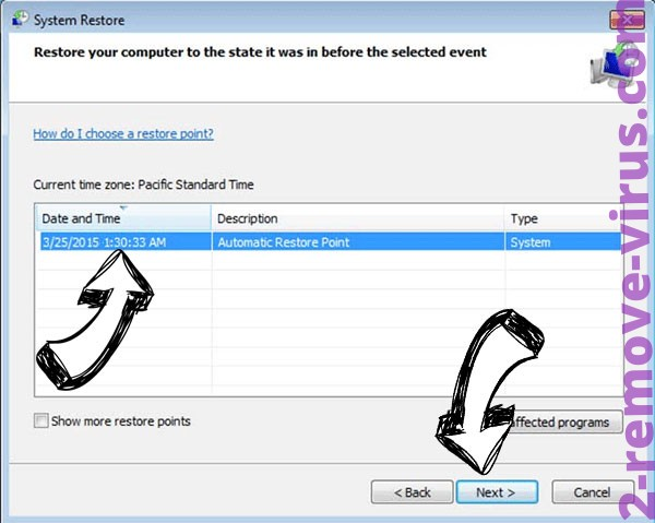 NMCRYPT ransomware - restore point