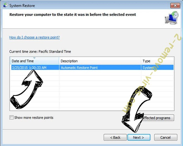 ZeroFucks ransomware - restore point