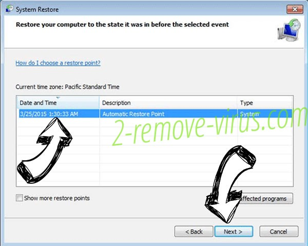 PhoneNumber ransomware - restore point