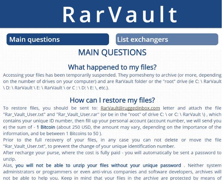 RarVault Virus