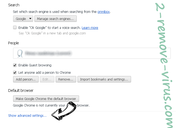 Mystart.com Chrome settings more