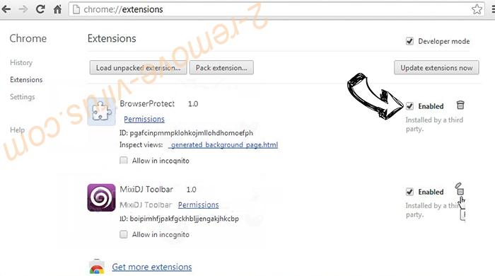 Tech-connect.biz Virus Chrome extensions disable