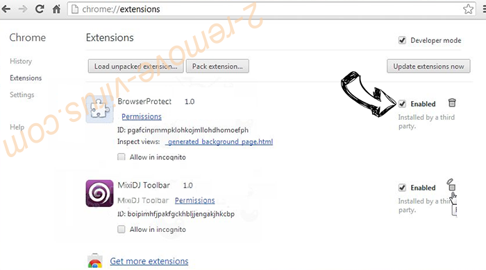 Climbon.top Chrome extensions disable