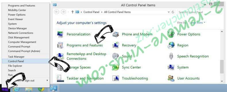 Delete Mywebs.pro from Windows 8