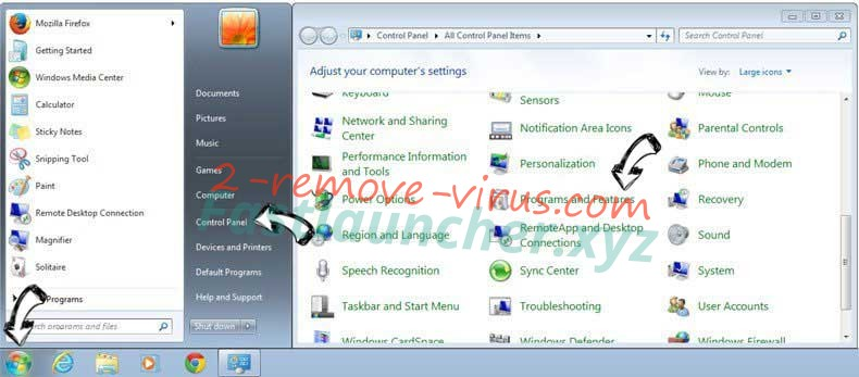 Uninstall Mywebs.pro from Windows 7