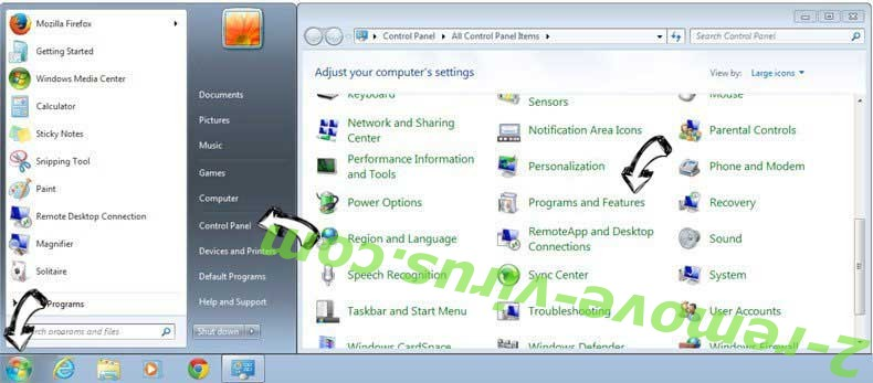 Uninstall Searchgra.com from Windows 7