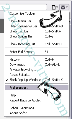 Chromium virus Safari menu