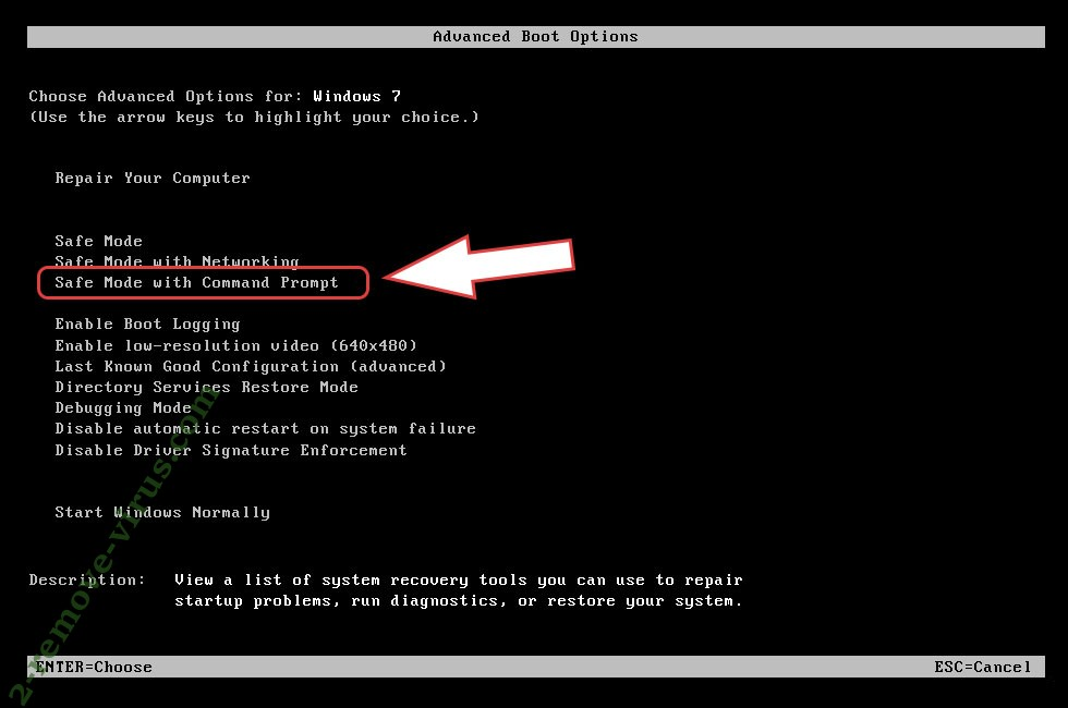 Remove EbolaRnsmwr ransomware - boot options