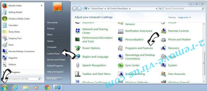 Uninstall PC Support Center Adware from Windows 7