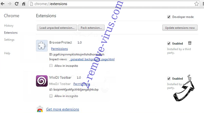 Mystart Search Virus Chrome extensions remove