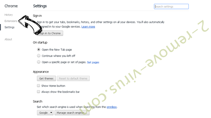 Mystart Search Virus Chrome settings