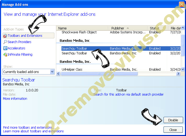 Search.debrikon.com IE toolbars and extensions