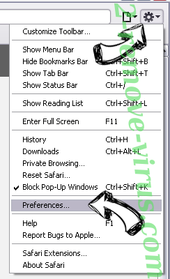 Search fort pro Adware Safari menu