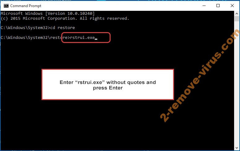 Delete Jack.Pot - command prompt restore execute
