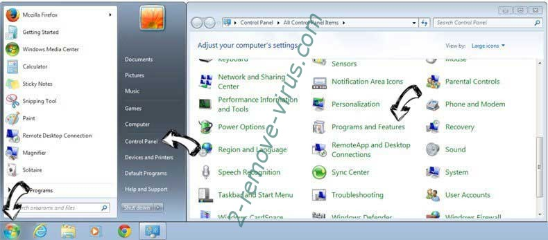 Uninstall Pronto Baron search from Windows 7