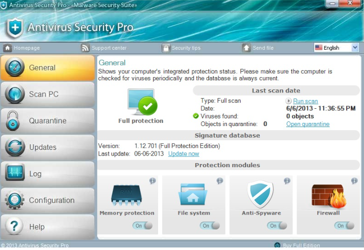 Удалить Antivirus Security Pro Virus