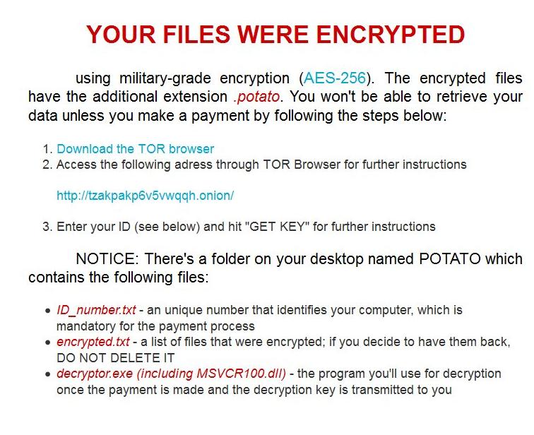 Potato ransomware