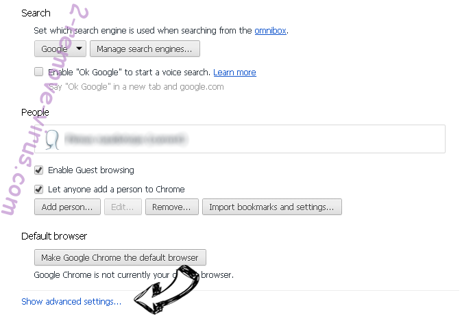 Untrack Search Chrome settings more