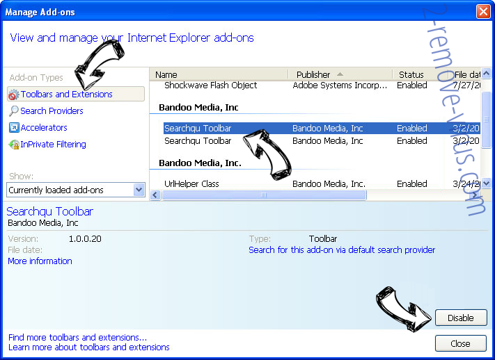 Untrack Search IE toolbars and extensions