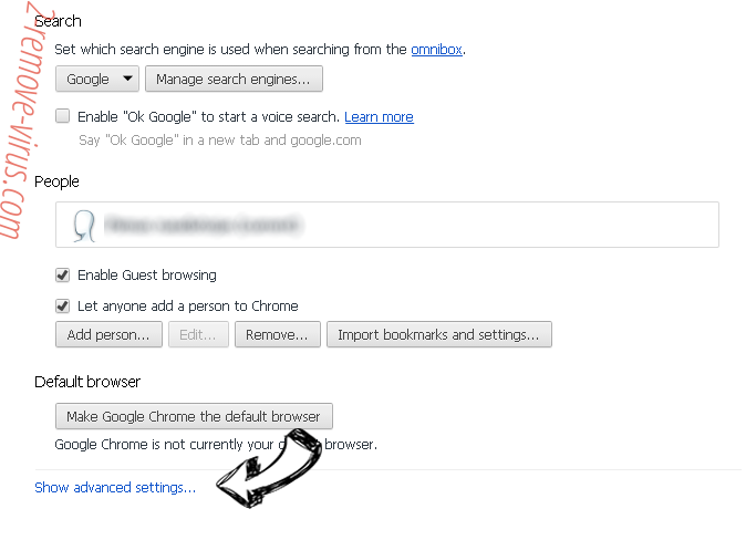 Search.moviecorner.com Chrome settings more