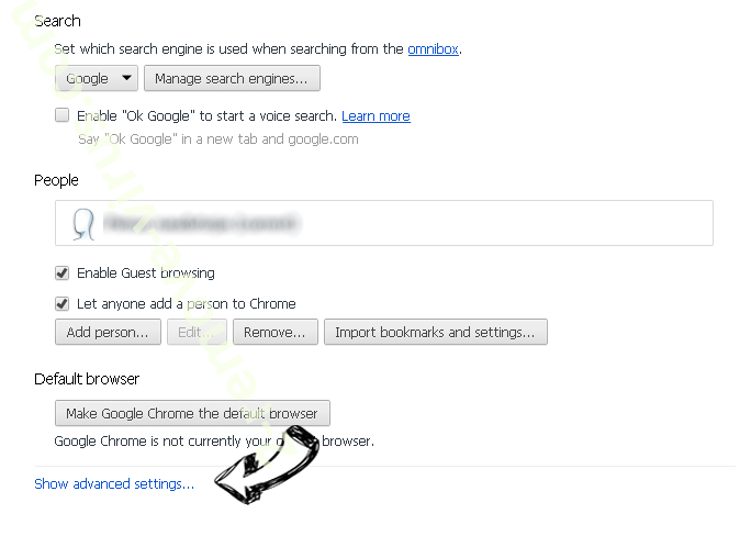 Search.searchtpn.com Chrome settings more