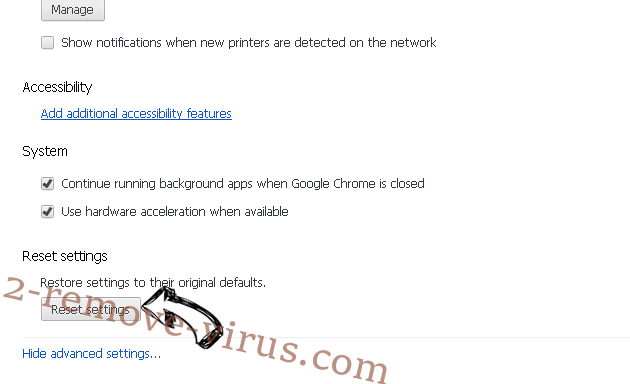 Searchitnow.info virus Chrome advanced menu