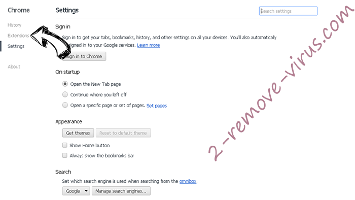 Searchitnow.info virus - comment faire pour supprimer ? Chrome settings