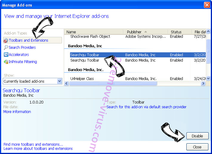 search.hideyoursearch.win IE toolbars and extensions