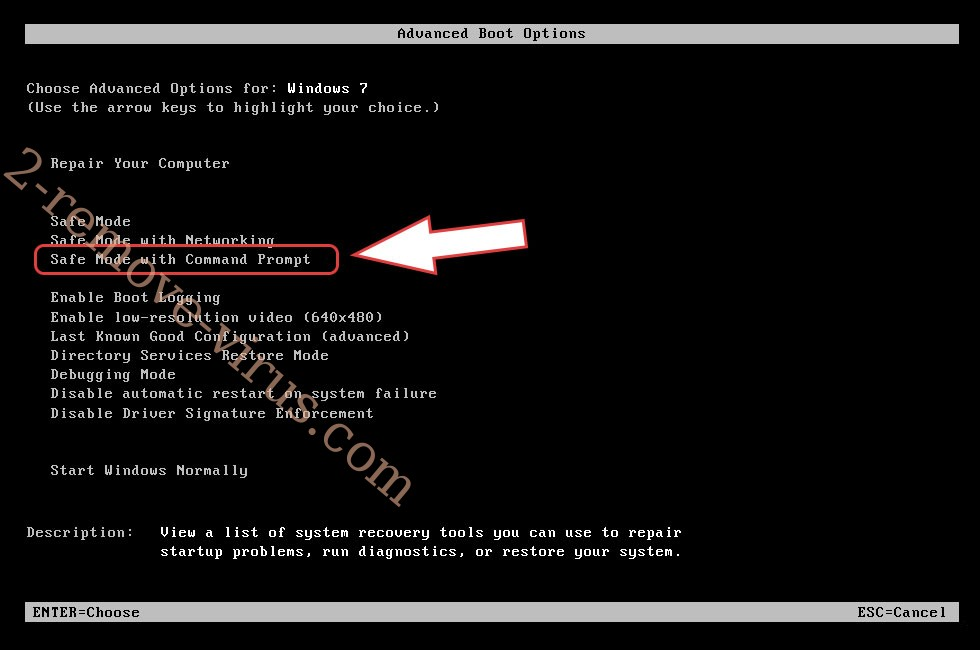 Remove Command Prompt Virus - boot options