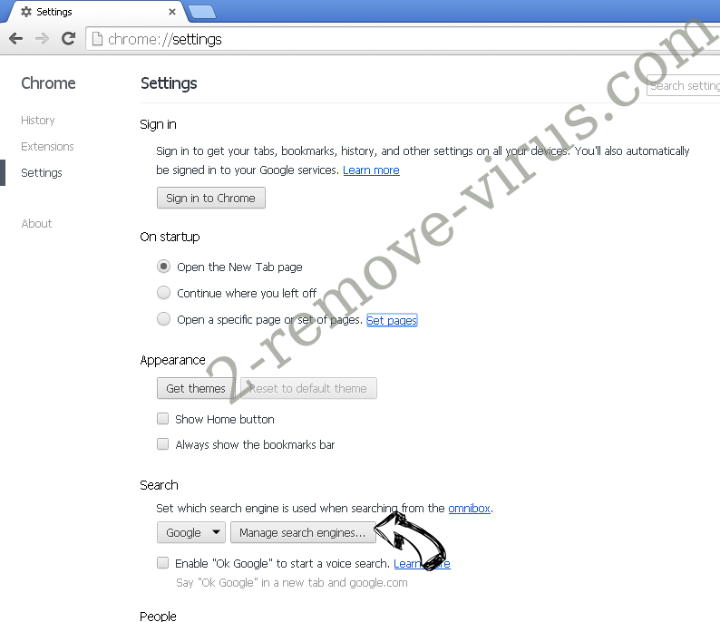 search.mecoosh.com Chrome extensions disable