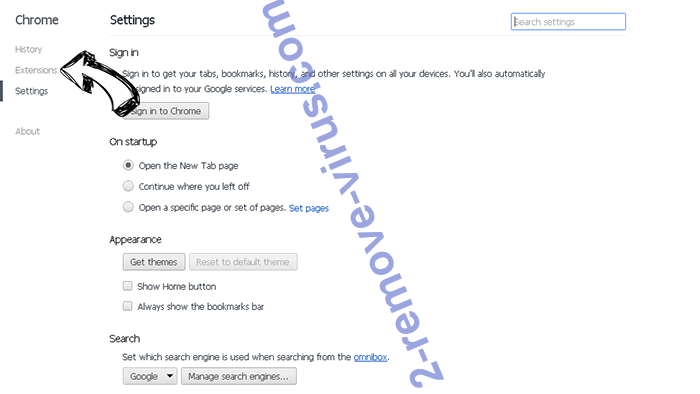 Search.searchyrs.com Chrome settings