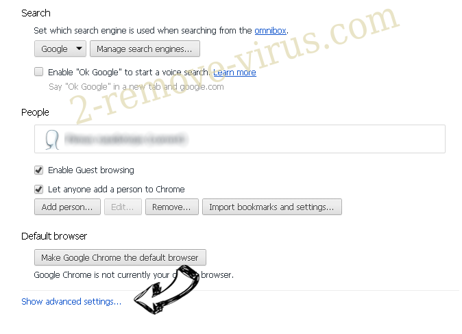 Search.Volfind.com Chrome settings more