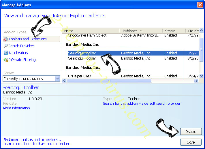 searchmpct.com IE toolbars and extensions